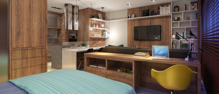Projeto arquitetônico insere Home Office em Studio